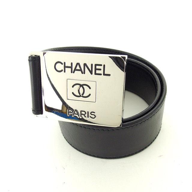 【中古】 【送料無料】 シャネル ベルト ♯70 28サイズ ココマーク ヴィンテージ シルバー×ブラック シルバー金具×レザー Chanel D1553 .