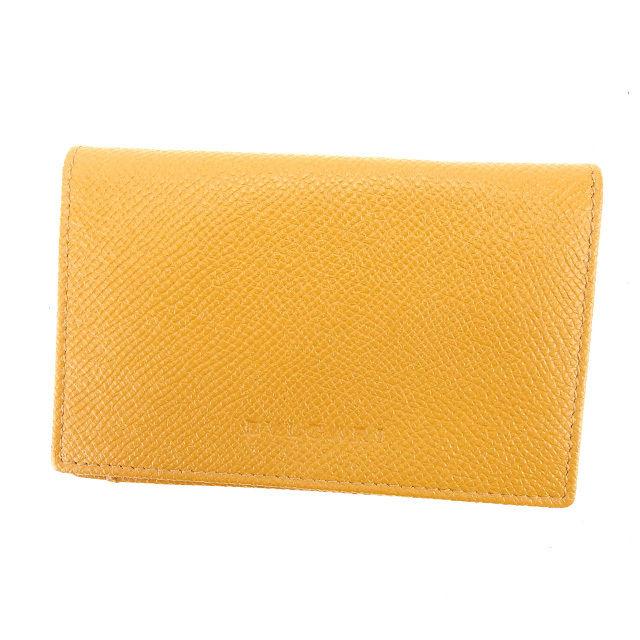 【中古】 【送料無料】 ブルガリ BVLGARI 名刺入れ カードケース ロゴ キャメル レザー 良品 D1562 .