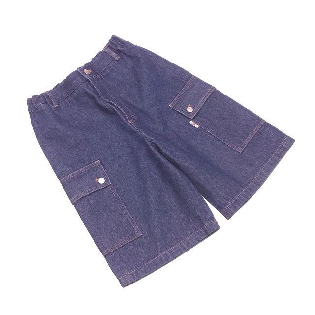 202adf016 Burberry BURBERRY underwear work pocket half girls Boys possible ♯ 140A  size kids denim indigo navy X silver system cotton cotton 100% (back flap  part) ...