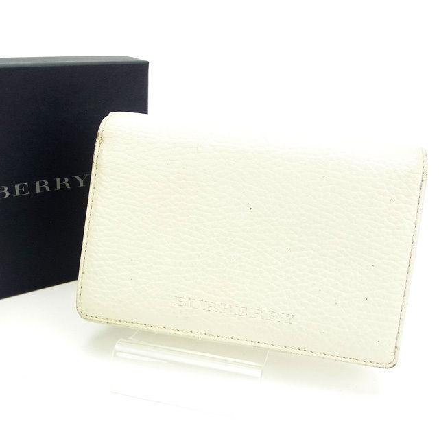 【中古】 【送料無料】 バーバリー 二つ折り財布 /L字ファスナー ホワイト E505s .