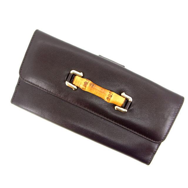 【中古】 【送料無料】 (良品) グッチ GUCCI 長財布 メンズ可 バンブー ブラウン レザー E511