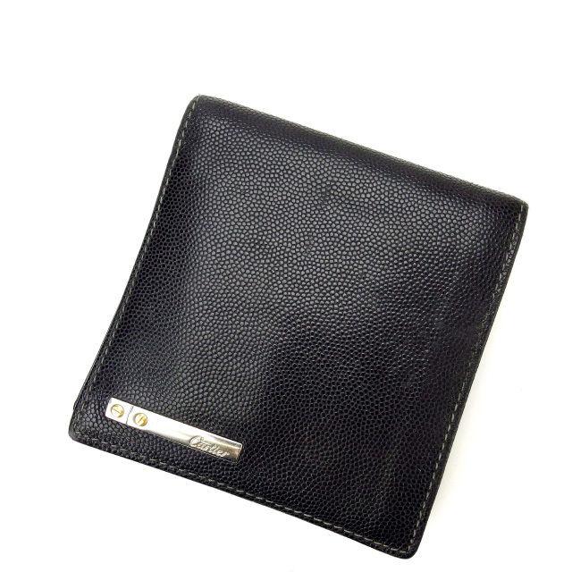 【中古】 【送料無料】 カルティエ 二つ折り財布 レディース ブラック Cartier E736