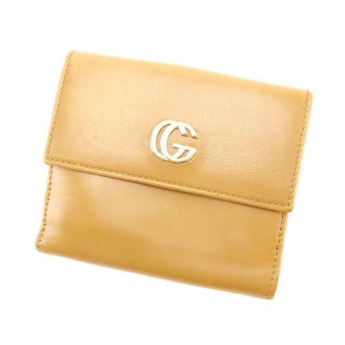 【中古】 【送料無料】 グッチ Wホック財布 レディース ベージュ Gucci E796 .