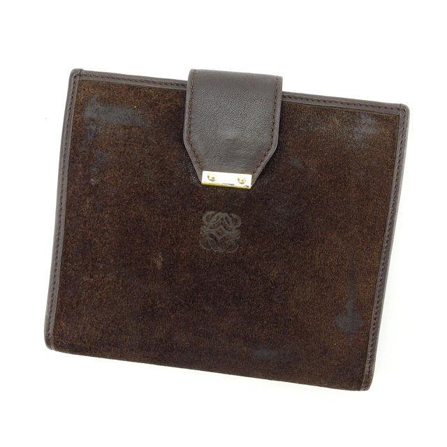 【中古】 【送料無料】 ロエベ LOEWE 二つ折り財布 メンズ可 ブラウン スエード×レザー (あす楽対応) E913