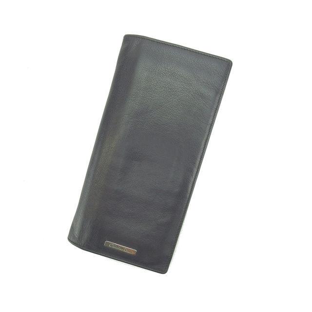 ac8f8e2a6784 【中古】 【送料無料】 クリスチャン・ディオール Christian Dior 長財布 ファスナー付き長財布 メンズ可 ブラック レザー  (あす楽対応) 即納 E945-レディース財布