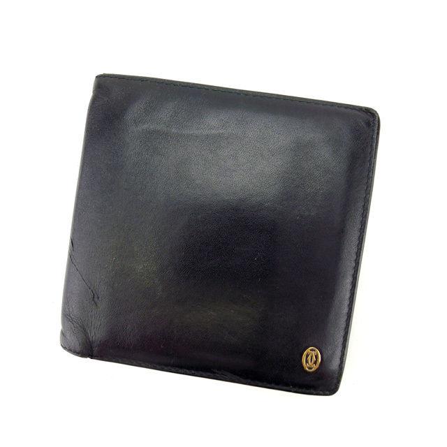 【中古】 カルティエ Cartier 二ツ折リ財布 ブラック×ゴールド レディース メンズ ユニセックス サイフ 小物 人気 贈リ物 財布 収納 在庫一掃 迅速発送 在庫処分 男性 女性 良品 夏 1点物 E999