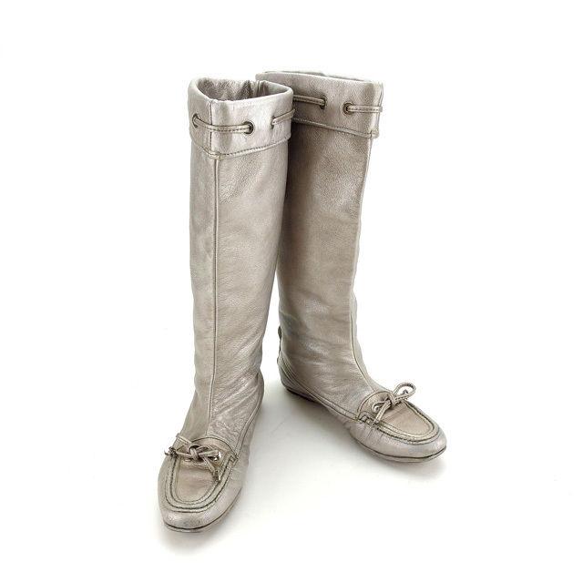 【中古】 【送料無料】 クリスチャンディオール Christian Dior ブーツ シューズ 靴 レディース ♯37 ロング リボン シルバー レザー (あす楽対応) 人気 F1114 .