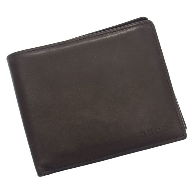 【中古】 【送料無料】 グッチ GUCCI 二つ折り財布小銭入れなし メンズ可 ロゴ ブラウン レザー F296