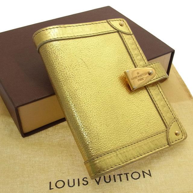 【中古】 【送料無料】 ルイヴィトン Louis Vuitton 手帳カバーレア メンズ可アジェンダ パルトネールPM スハリ オール(ゴールド) レザー F396