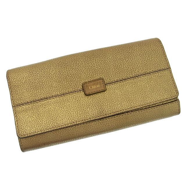 【中古】 クロエ 長財布 さいふ ファスナー二つ折り ロゴ ゴールド Chloe 長サイフ サイフ 収納 財布 さいふ ユニセックス 小物 迅速発送 在庫処分 1点物 F542