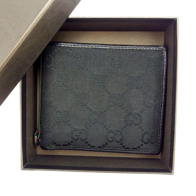 【中古】 【送料無料】 グッチ 二つ折り財布 レディース GG柄 ブラック Gucci F962 .