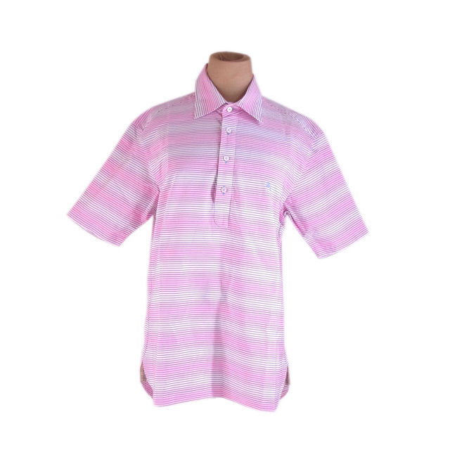 【中古】 【送料無料】 バーバリー ブラックレーベル シャツ 半袖 ポロシャツ メンズ ボーダー ♯2サイズ ホース刺繍入り ピンク系 Burberry G1189 .