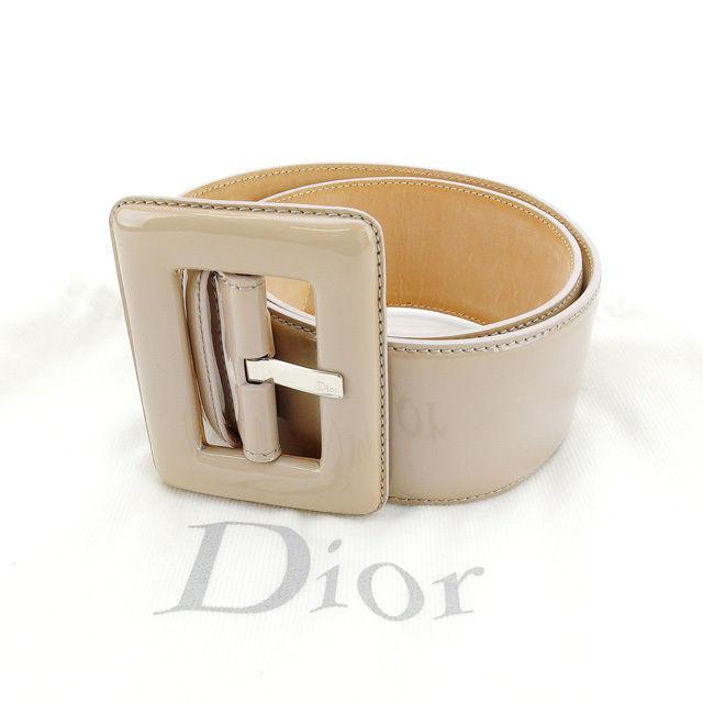 【中古】 【送料無料】 クリスチャン・ディオール Christian Dior ベルト レディース ベージュ エナメルレザー (あす楽対応) G674s