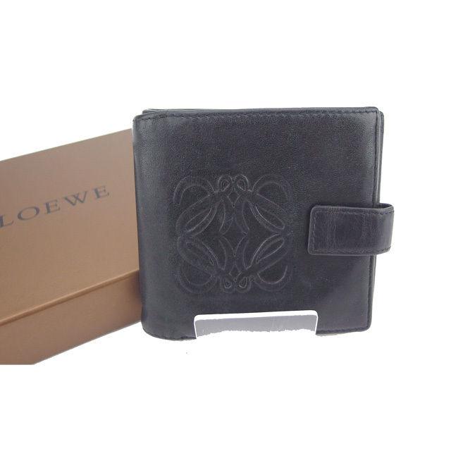 f5e7d80978fd ... 送料無料】 ロエベ LOEWE Wホック財布 二つ折り コンパクトサイズ アナグラム 13982523 ブラック シープスキン (あす楽対応)良品  G799 . メンズ可-レディース財布