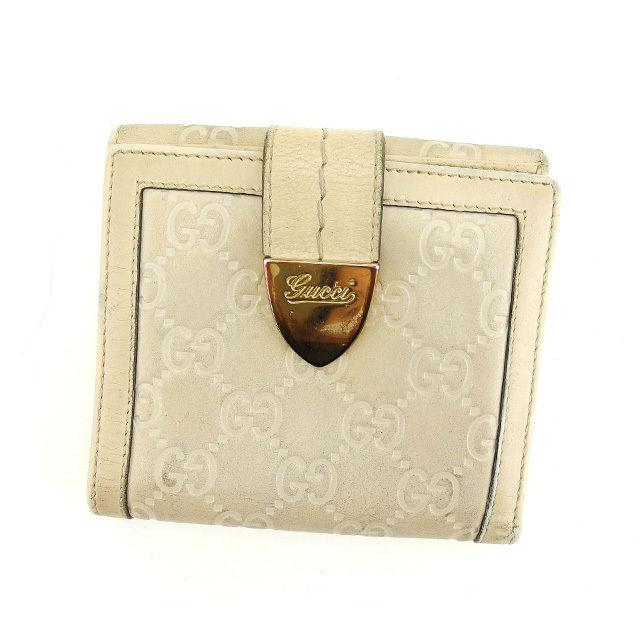 【中古】 【送料無料】 グッチ Wホック財布 二つ折り財布 レディース グッチシマ ベージュ×ゴールド Gucci G814 .