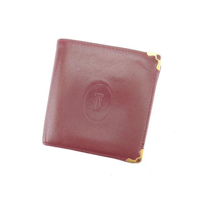 【中古】 カルティエ Cartier 二つ折り財布 ボルドー×ゴールド レディース メンズ ユニセックス サイフ 小物 人気 贈り物 財布 収納 在庫一掃 迅速発送 在庫処分 男性 女性 良品 夏 1点物 G919 A