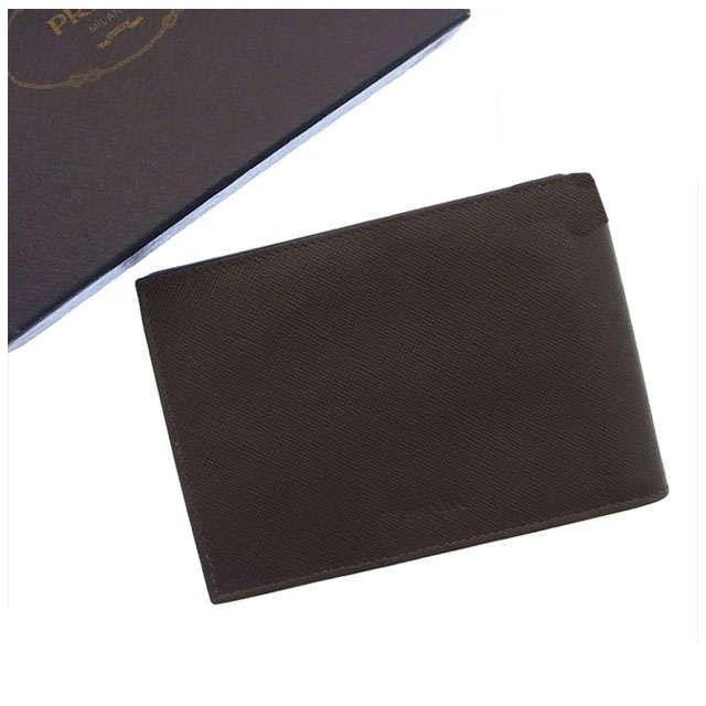 【中古】 【送料無料】 (良品・即納) プラダ PRADA 二つ折り財布メンズ可 ロゴ ブラウン レザー H018s .