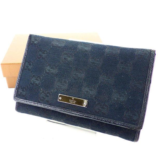 【中古】 【送料無料】 グッチ L字ファスナー財布 二つ折り財布 レディース GGキャンバス ブラック×シルバー Gucci H395