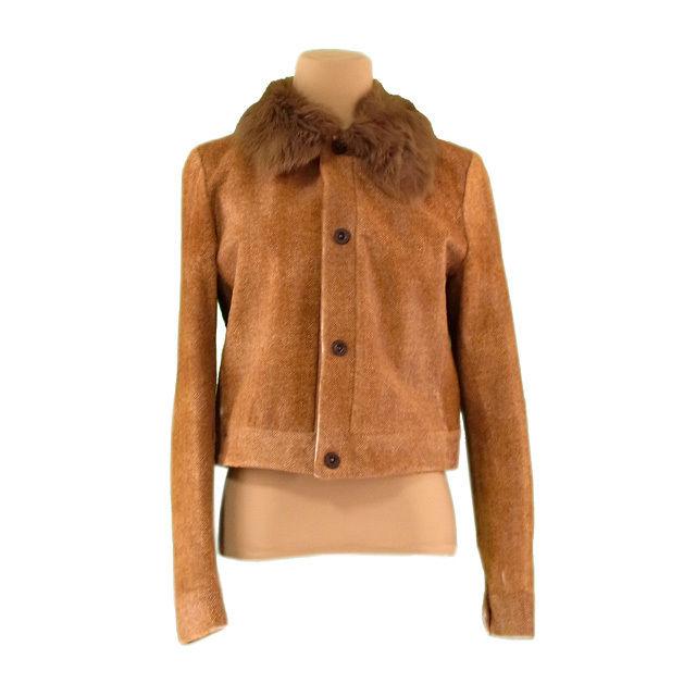 【中古】 ラルフローレン Ralph Lauren ジャケット 衿ファー付き レディース ♯4サイズ シングル ベージュ系 H524