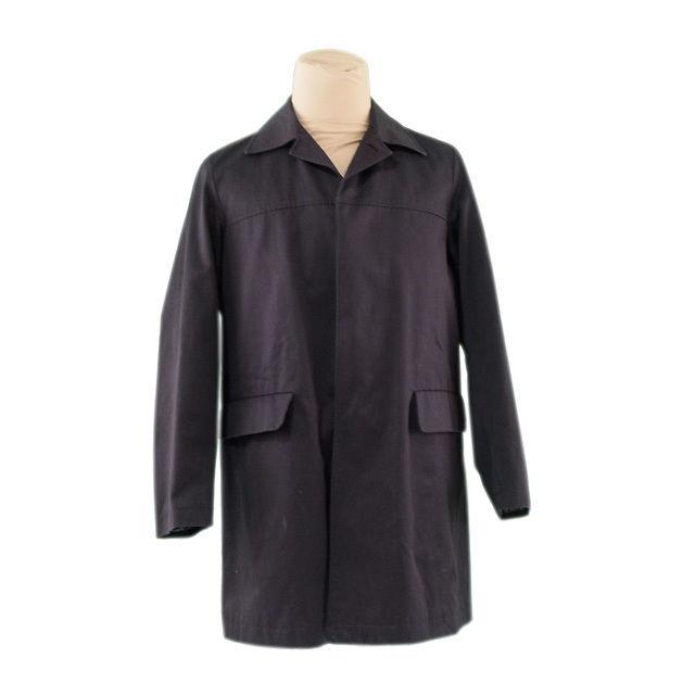 【中古】 ジルサンダー コート 中綿入り ロング丈 ♯44サイズ シングル ステンカラー ブラック JIL SANDER H536
