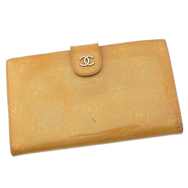 【中古】 【送料無料】 シャネル 長財布 がま口 二つ折り レディース ココマーク×フラワー ベージュ×シルバー Chanel I221