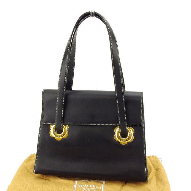 3f8f818bf29 Nina Ricci NINA RICCI handbag Lady's black X gold leather (correspondence)  beauty article immediate ...
