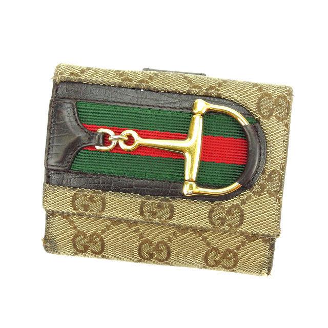 【中古】 【送料無料】 グッチ Wホック財布 二つ折り財布 ベージュ×ブラウン×ゴールド系 K293s .