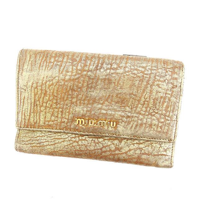 【中古】 【送料無料】 ミュウミュウ miu miu 三つ折り財布 ファスナー付き レディース ロゴ ブラウン×ゴールド系 レザー 人気 K452