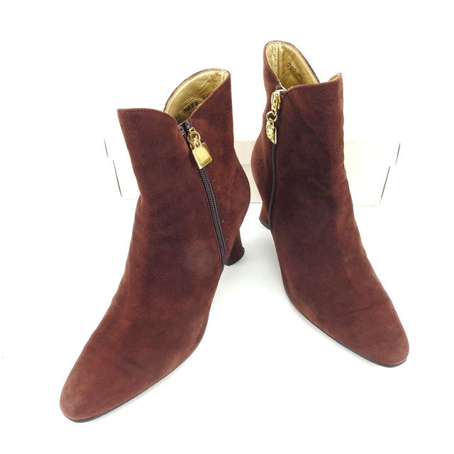 【中古】 【送料無料】 イヴサンローラン YVES SAINT LAURENT ブーツ シューズ 靴 レディース ♯35ハーフ ショート ブラウン×ゴールド スエード 美品 L1003