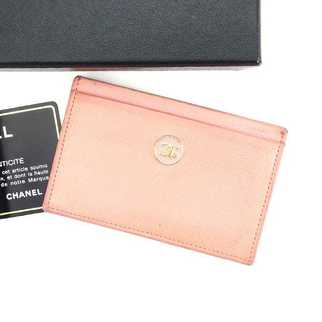 【中古】 【送料無料】 シャネル カードケース パスケース レディース ココボタン ピンク×ゴールド レザー Chanel L1005 .