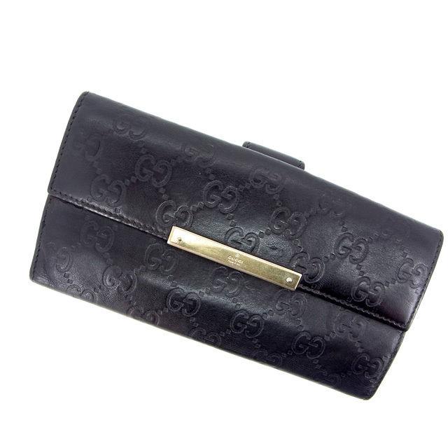 【中古】 グッチ 長財布 さいふ Wホック グッチシマ ブラック GUCCI 長サイフ サイフ 収納 財布 さいふ ユニセックス 小物 迅速発送 在庫処分 1点物 L212