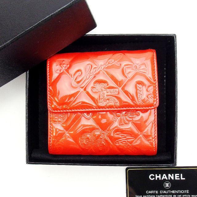 【中古】 【送料無料】 シャネル Wホック財布 コンパクトサイズ レディース レッド レザ- Chanel L359 .