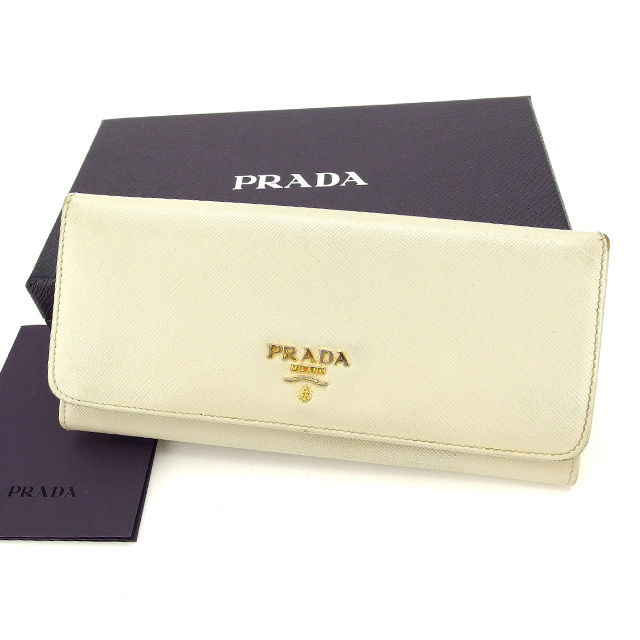 3b2b9fa51baf 【中古】 【送料無料】 プラダ PRADA 長財布 ファスナー 二つ折り メンズ可
