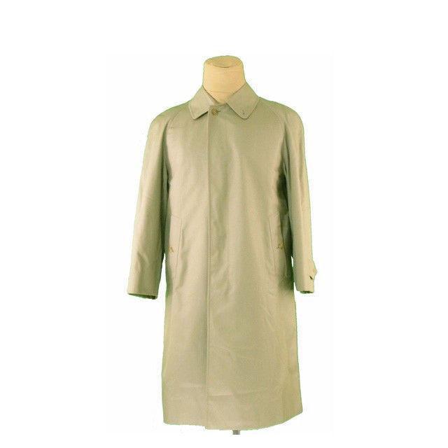 【中古】 バーバリー BURBERRY コート シングル ロング メンズ ノバチェック柄ライナー付き ライトカーキ L670