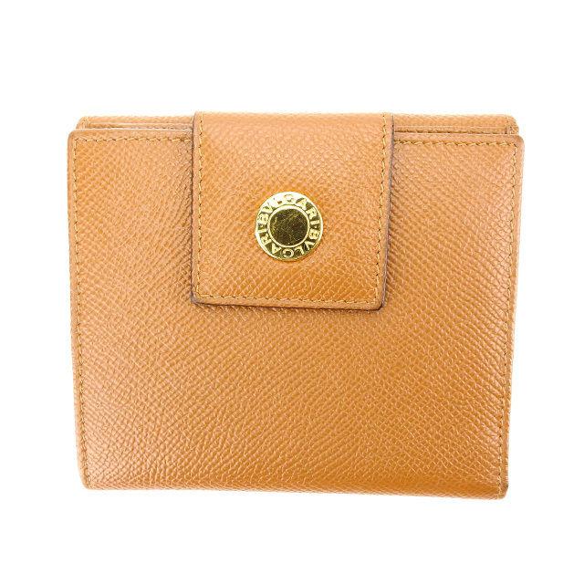 【中古】 【送料無料】 ブルガリ BVLGARI Wホック財布 二つ折り コンパクトサイズ メンズ可 ライトブラウン×ゴールド レザー (あす楽対応)良品 L671 .