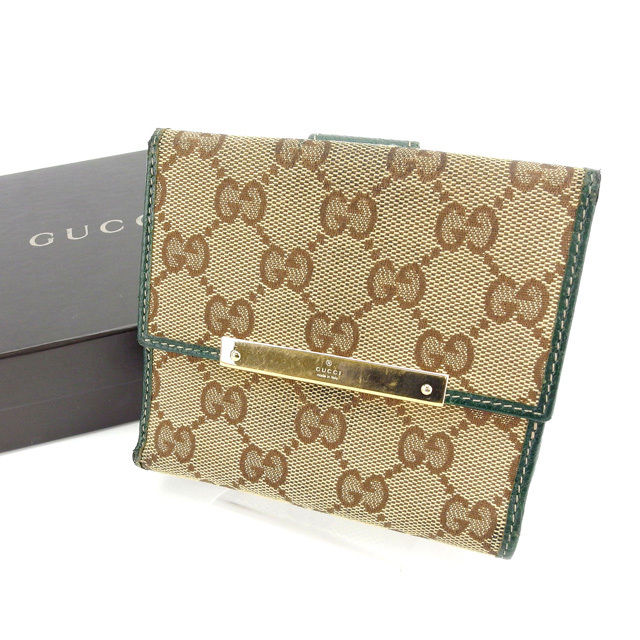 【中古】 【送料無料】 グッチ Wホック財布 二つ折り コンパクトサイズ レディース GGキャンバス ロゴプレート付き ベージュ×ブラウン×グリーン系 Gucci L672 .