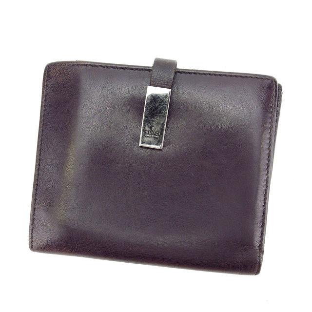 【中古】 【送料無料】 グッチ Wホック財布 二つ折り コンパクトサイズ レディース ダークブラウン×ブラックシルバー Gucci L728