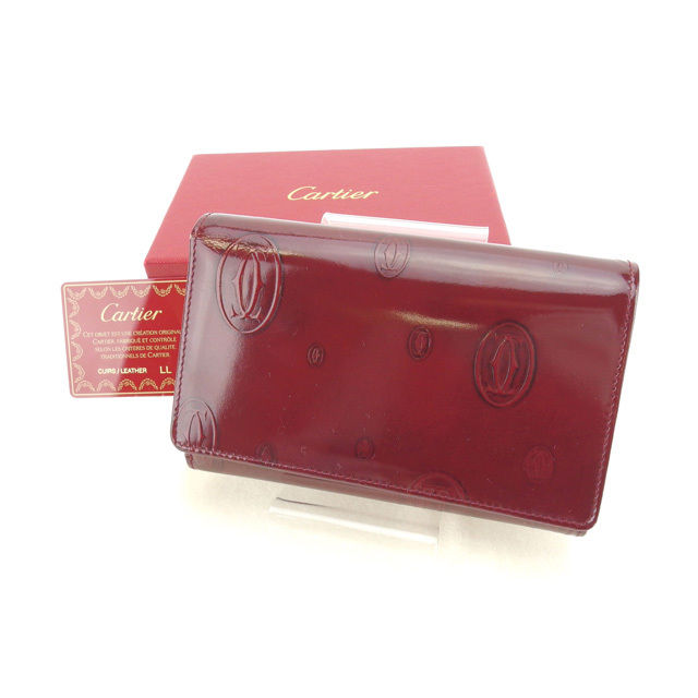 【中古】 カルティエ 二つ折り財布 L字ファスナー財布 ボルドー×シルバー L766s .