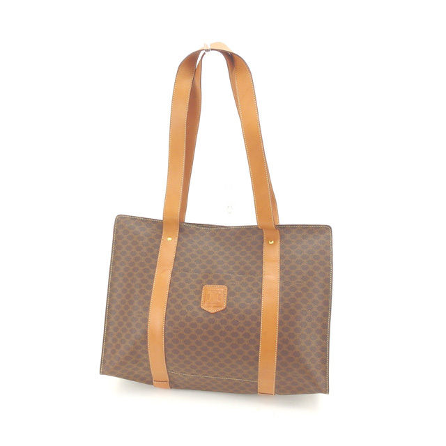 06eceb8acb96 X gold PVC X leather (correspondence) popularity sale L795 of Celine CELINE  tote bag shoulder bag man and woman combined use macadam Brown line