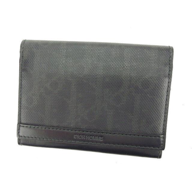 【中古】 【送料無料】 ディオール オム 名刺入れ カードケース メンズ トロッター ブラック Dior Homme L920 .
