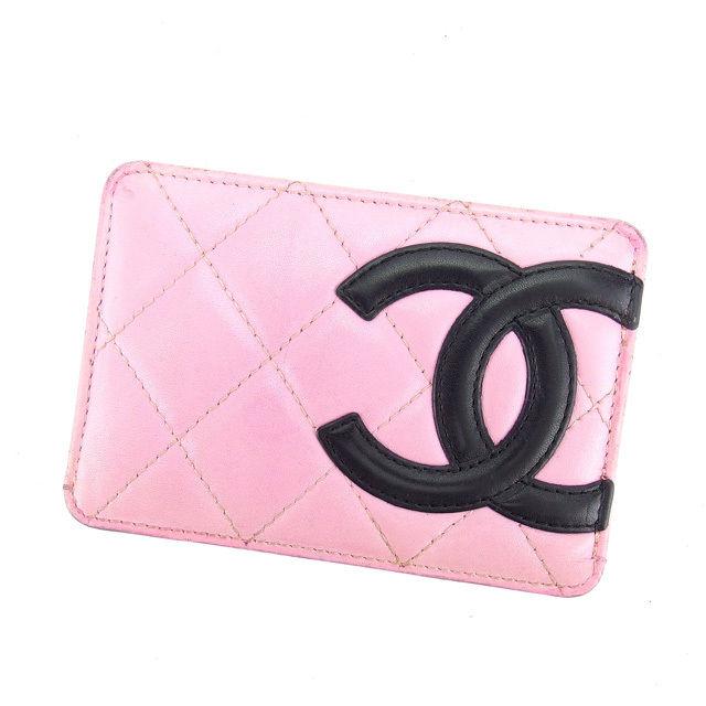 【中古】 【送料無料】 シャネル カードケース パスケース レディース カンボンライン ピンク×ブラック レザー Chanel L969 .