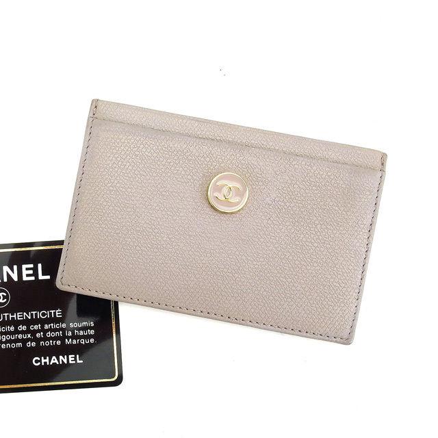 【中古】 【送料無料】 シャネル カードケース パスケース レディース ココボタン グレー×ゴールド レザー Chanel L970 .