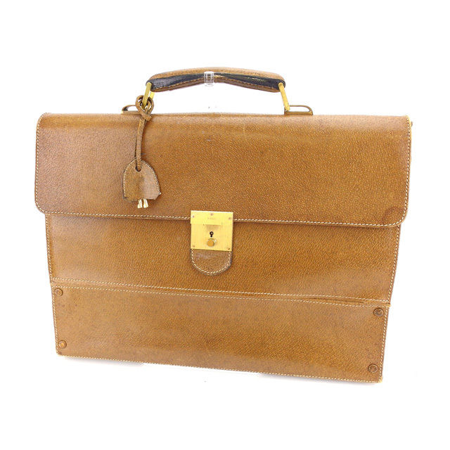 a093a96122e Gucci GUCCI business bag briefcase men old Gucci logo plate brown X gold leather  vintage sale L980