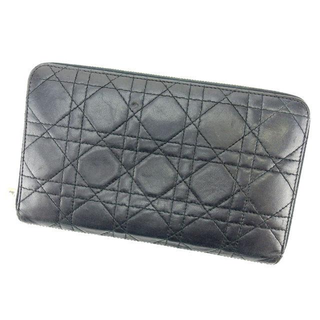 【中古】 【送料無料】 ディオール Dior 長財布 パスポートケース レディース トラベル レディディオール ブラック×ゴールド系 レザー 人気 L1465