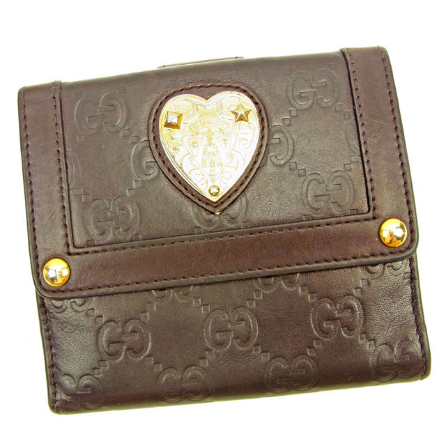 【中古】 グッチ Wホック財布 さいふ グッチシマ ブラウン×ゴールド レザー Gucci ホックサイフ ホック財布 さいふ 財布 さいふ サイフ 財布 さいふ ユニセックス 小物 迅速発送 在庫処分 1点物 L1507