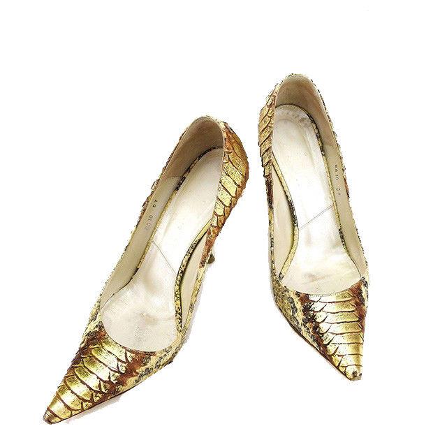 【中古】 【送料無料】 ディオール Dior パンプス シューズ 靴 レディース ♯36ハーフ ポインテッドトゥ パイソン ベージュ×ブラック×ゴールド系 パイソンレザー 人気 L1578