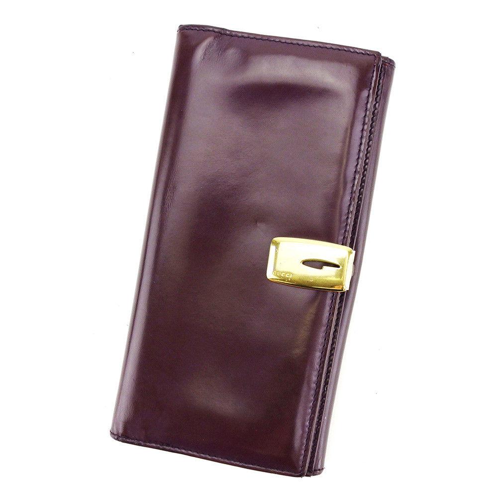 【中古】 【送料無料】 グッチ 長財布 二つ折り 財布 メンズ可 ブラウン×ゴールド レザー Gucci L1705 .