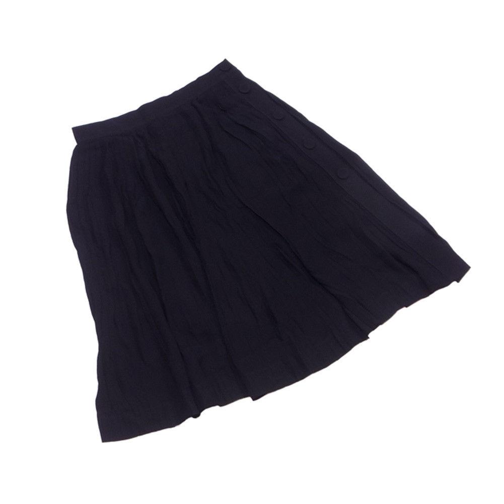 【中古】 エンポリオ アルマーニ EMPORIO ARMANI スカート フレアー レディース サイドボタン&スリット ブラック ビスコースVI 100% L1818