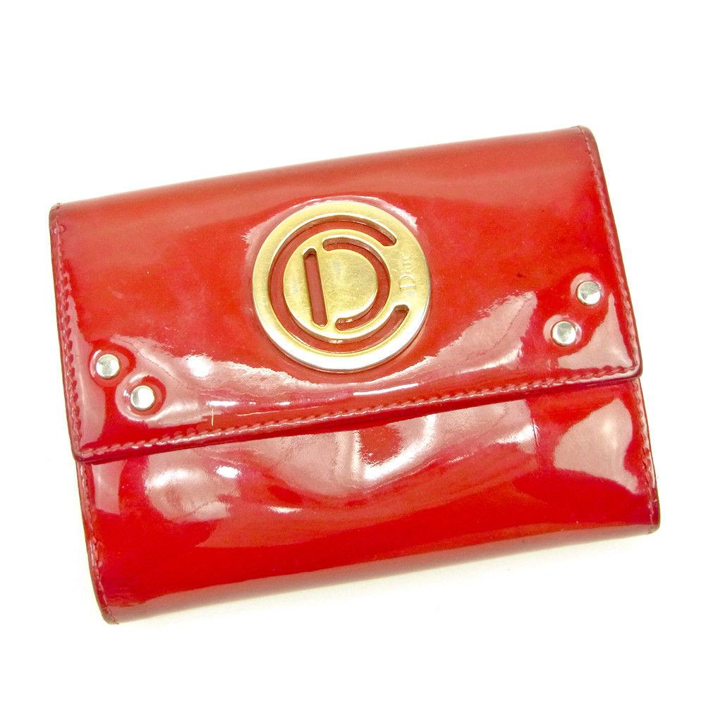 【中古】 【送料無料】 ディオール Wホック 財布 二つ折り 財布 レディース レッド×ゴールド エナメルレザー Christian Dior L1828 .