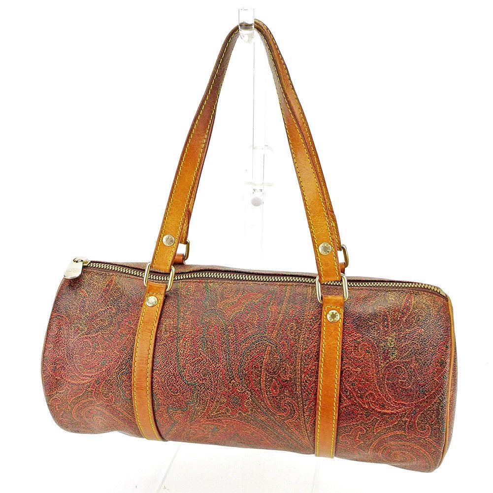 df0d636c3 X beige X gold PVC X leather popularity sale L1967 of エトロ ETRO handbag  barrel bag ...